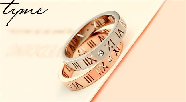 2016 vente chaude chiffres romains amour bague pour femmes hommes taille Couple amant cadeau plaque d'or, or Rose, couleur en acier pour femme cadeau - 3