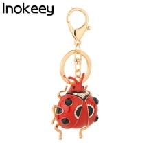 Inokey Big Red / Black Alloy Ladybug Женская сумка Key Ring Fashion Key Chains Подарочные аксессуары для ювелирных изделий
