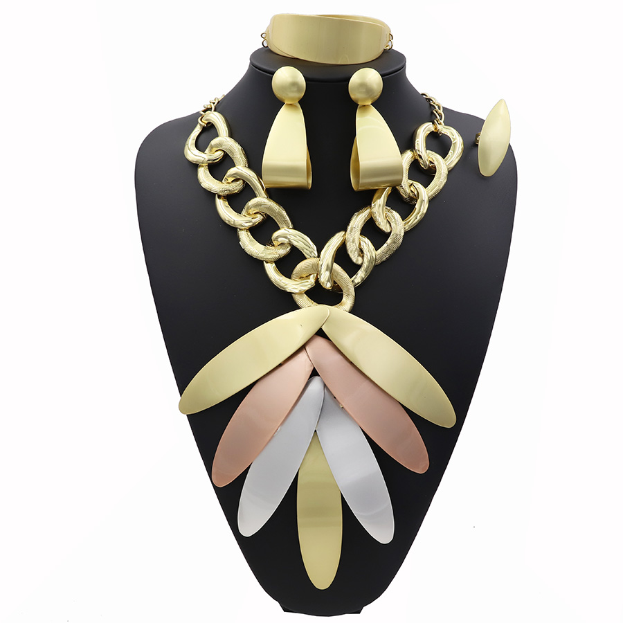 TSROUND Free Shipping Dubai Gold Jewelry Sets for Women Ngerian Bridal Wedding 4PCS