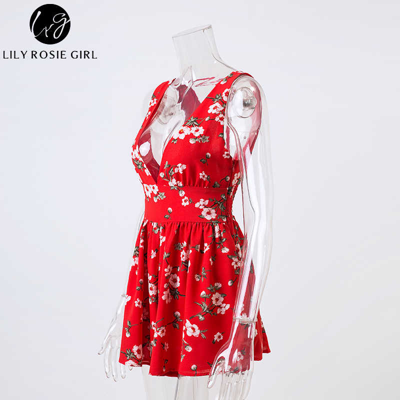 6c9f4d42244b ... Lily Rosie Girl Red Floral Print Boho Sexy Strap Women Jumpsuit Deep V  Neck Summer Beach