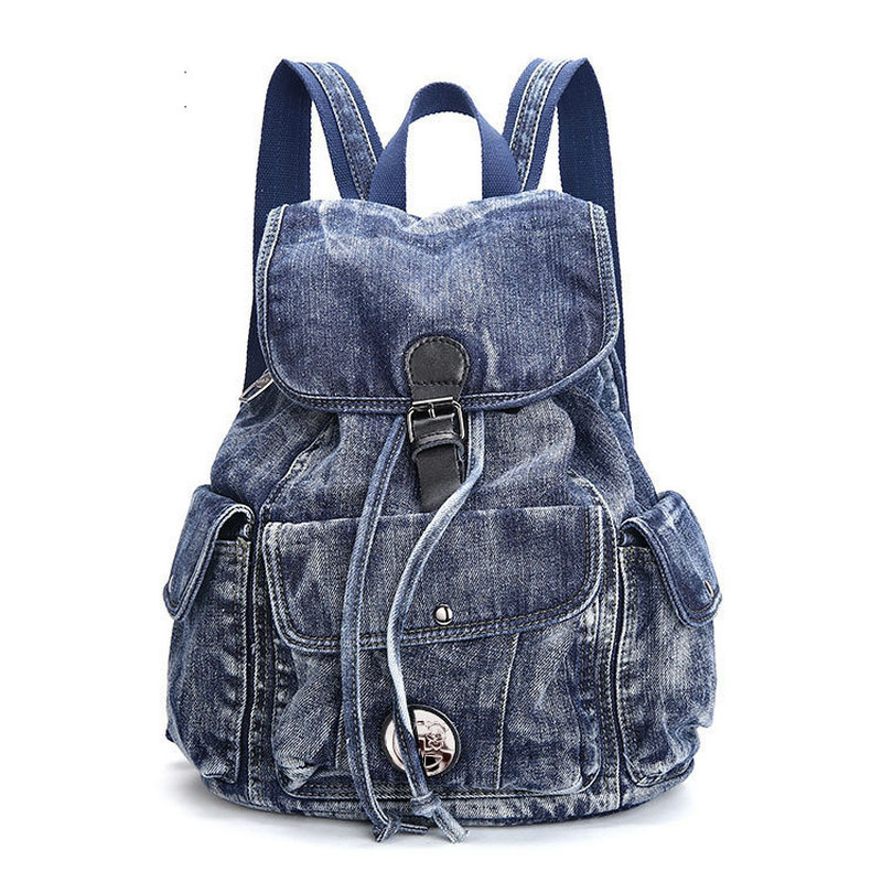 2017 new big blue color vintage washed denim backpack fashion canvas student bag jean school bag