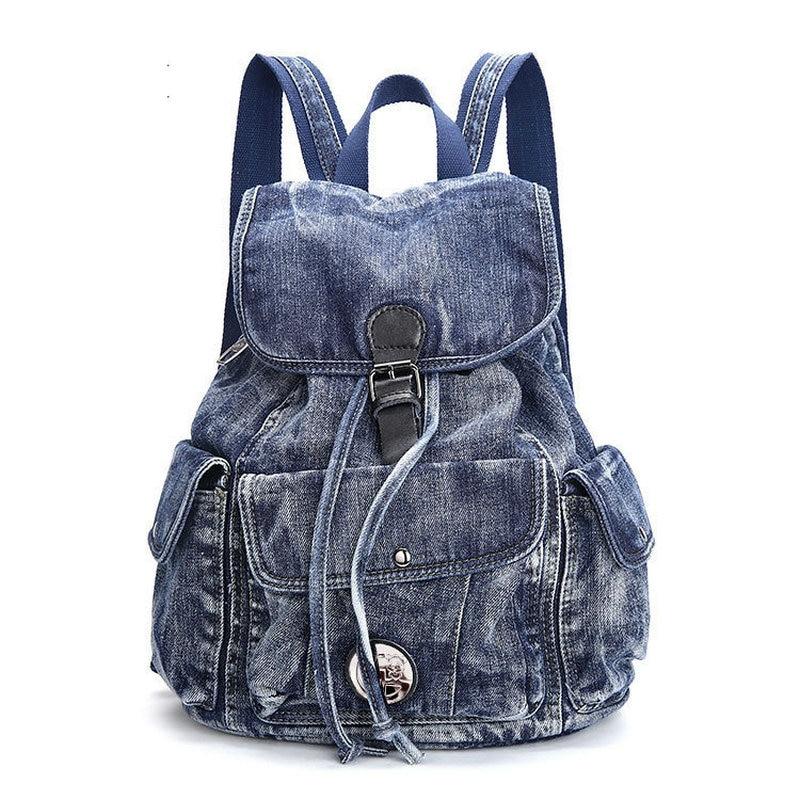 2017 nowy duży niebieski kolor w stylu vintage myte plecak Denim mody uczeń płótnie torba jean torba szkolna męska torba podróżna na co dzień w Plecaki od Bagaże i torby na  Grupa 1