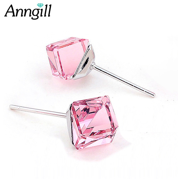 Us 4 85 35 Off Anngill Original Crystals From Swarovski Piercing Earrings For Women Cube Silver Color Stud Earring Jewelry Christmas Gift In Stud