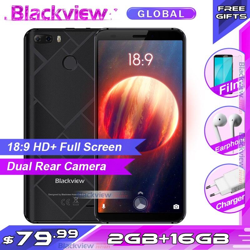 Téléphone portable Original Blackview S6 5.7 pouces 18:9 HD + écran complet 2 GB + 16 GB MT6737VWH Quad Core Android 7.0 double caméra arrière Smartphone