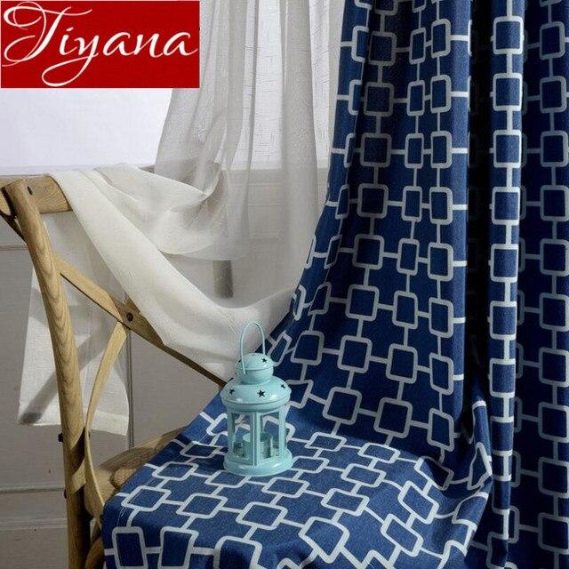 Moderne Stoffe vorhänge blau geometrische moderne fenster wohnzimmer schlafzimmer