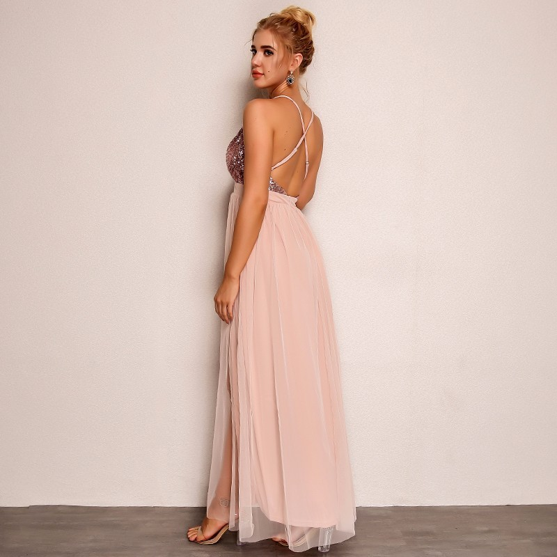 Pink Loose Sequin Deep V Strap Mesh Dress 4