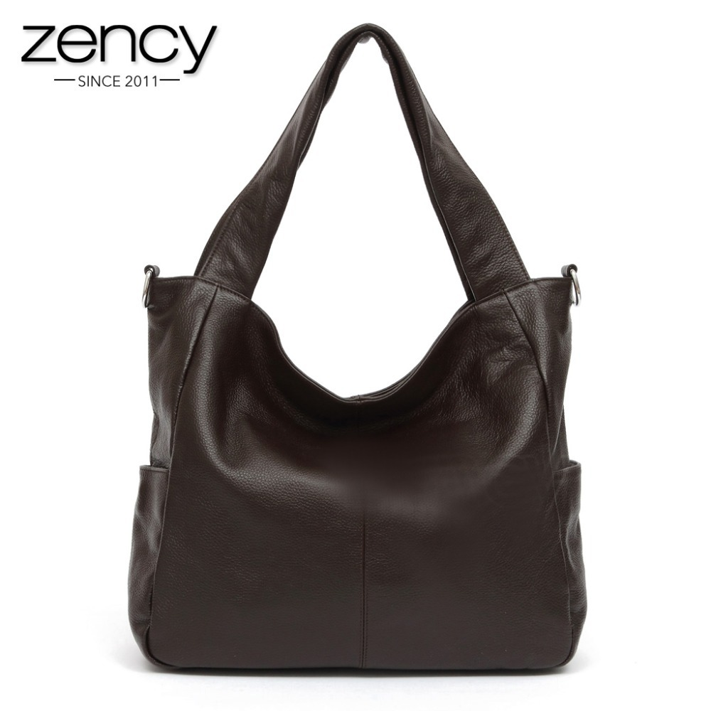 Zency Fashion Women Shoulder Bag 100% Genuine Leather Lady Crossbody Messenger Purse Satchel Tote Bags Coffee Black Handbag fashion women canvas stripe shoulder bag satchel crossbody tote handbag purse messenger gift wholesale bolsa feminine