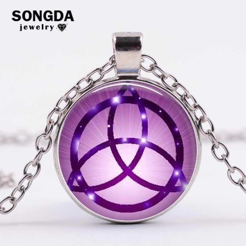 SONGDA Pagan Wheel of The Year Necklace Pentagram Witch Protection