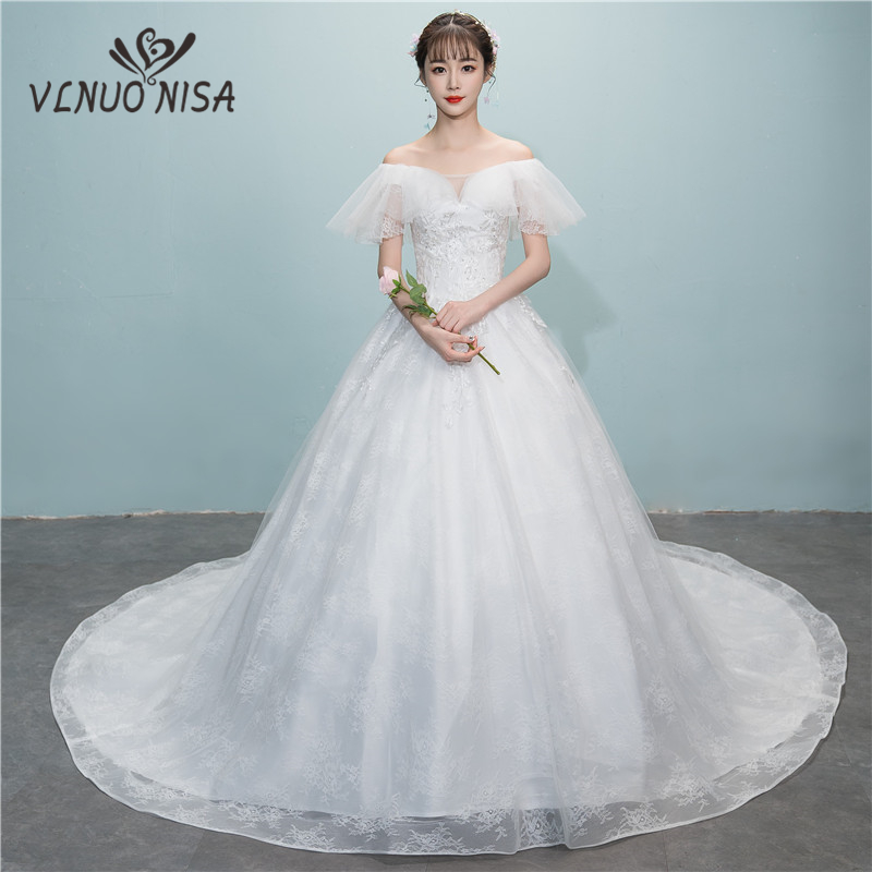 Real Pictures Sexy Deep V Lace Chapel Train Wedding Dress Romantic Ball Gown Bridal Dress  Lace Wedding Dress  Elegant Sleeve 8