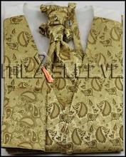 free shipping gold cheap man's waistcoat for party/wedding(vest+ascot tie+handkerchief+cufflinks)