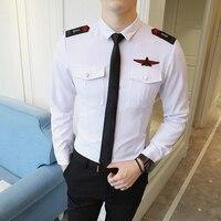 2018 New Army Shirt Long Sleeve Military Style Mens Shirts With Epaulet Men Dress Shirts Black