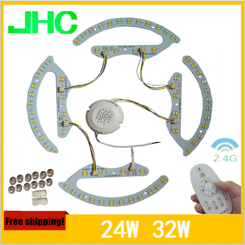Nouveau 16 w 24 w 32 w 2.4g rf télécommande led plafonnier lampe plaque 5730smd panneau circulaire couleur température est réglable