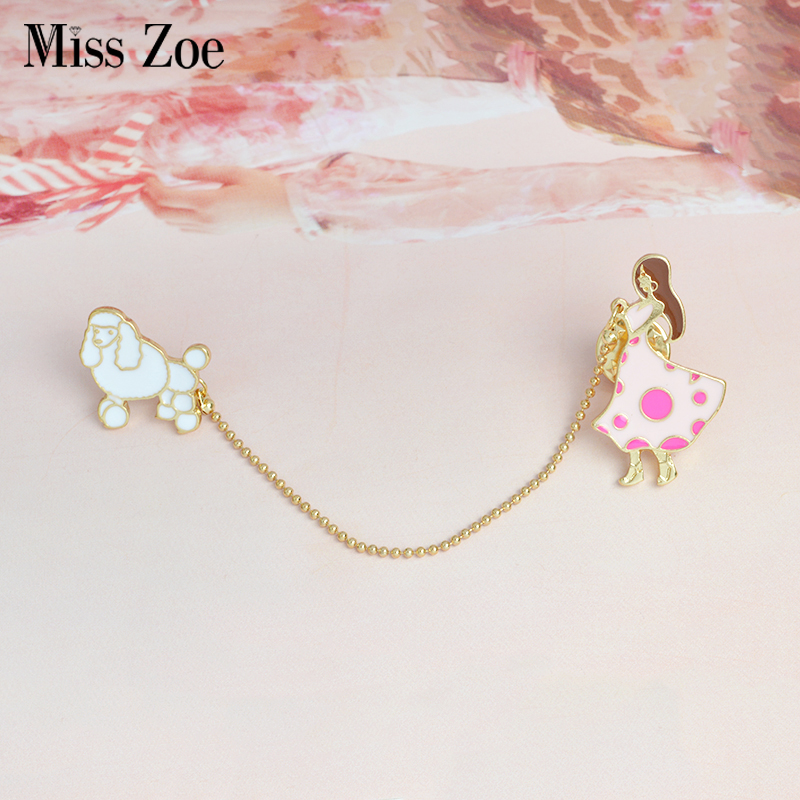 Walking Dog Enamel Pin Custom Chain Brooch Bag Clothes Lapel Pin Dress Girl And Poodle Badge Animal Jewelry Gift For Friends