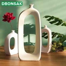 Скандинавская простая керамическая ваза для цветов с вырезами