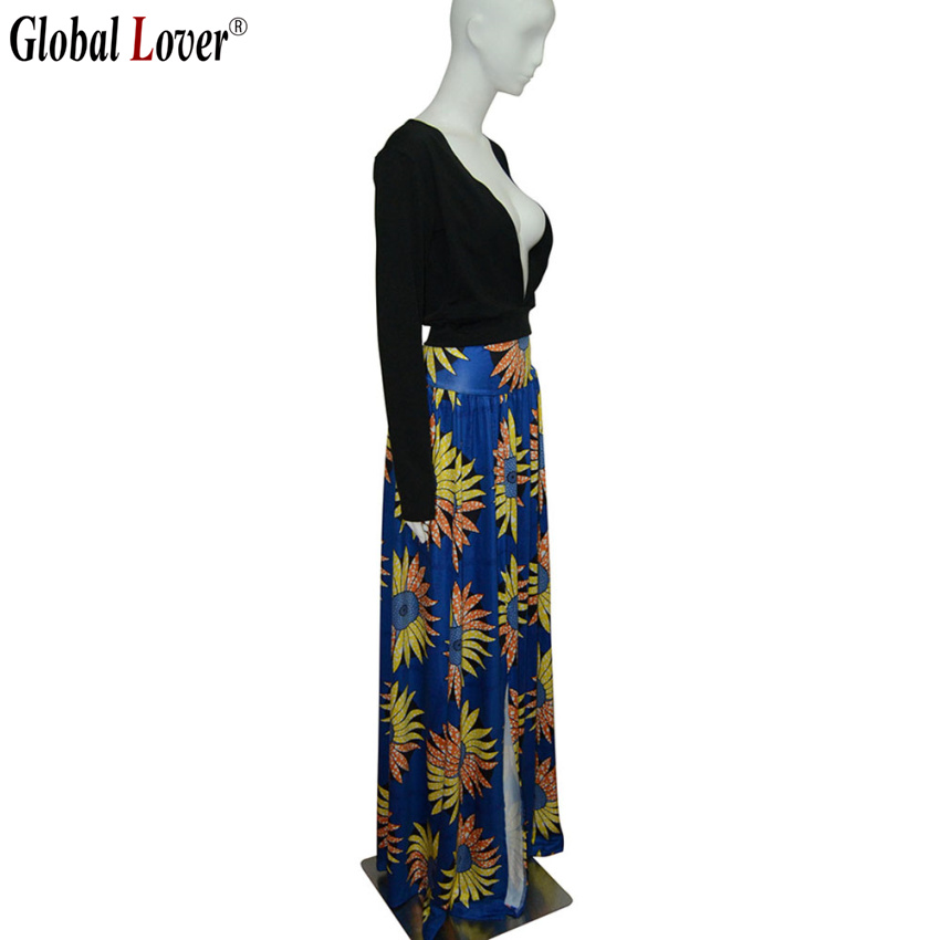 1f980c0b5d Vintage African Print 2 Piece Set Dress Women V Neck Black Long Sleeve Maxi  Dress Big Size Boho Style Sexy High Split Party Wear-in Dresses from  Women's ...
