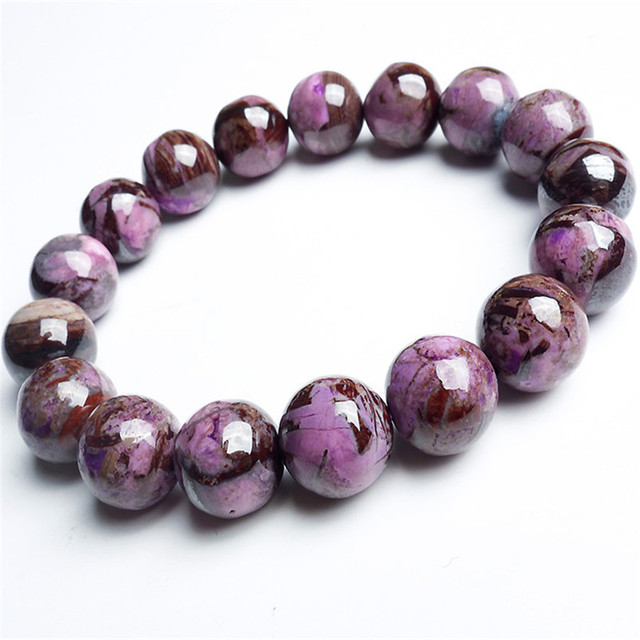 Free Shipping 12mm South African Genuine Purple Sugilite Natural Stone Bracelets For Women Charm Stretch Round Beads Bracelet