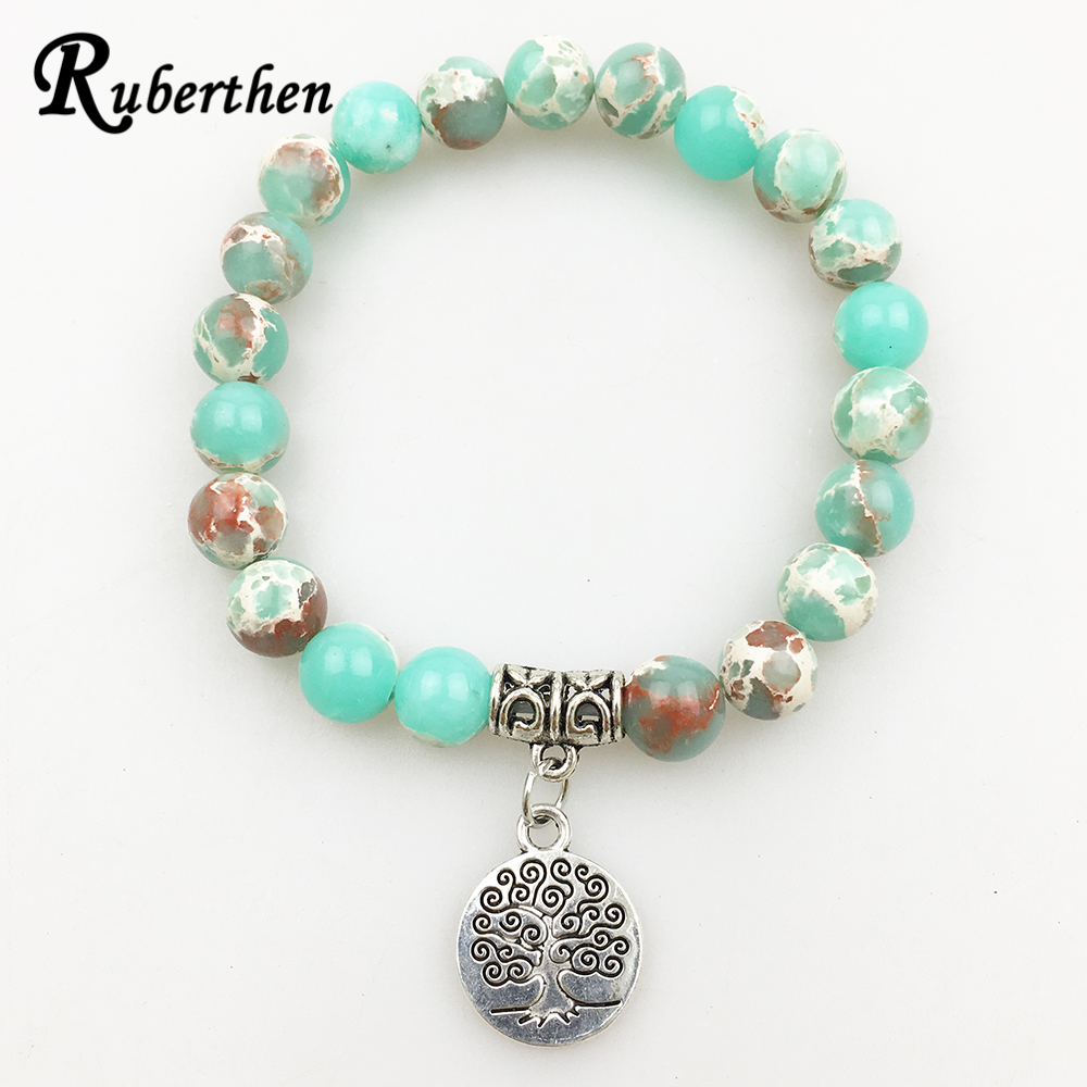 Ruberthen Vintage Design Men`s Natural Stone Bracelet Tree of Life Charm Balance Jewelry Trendy Gift for Him