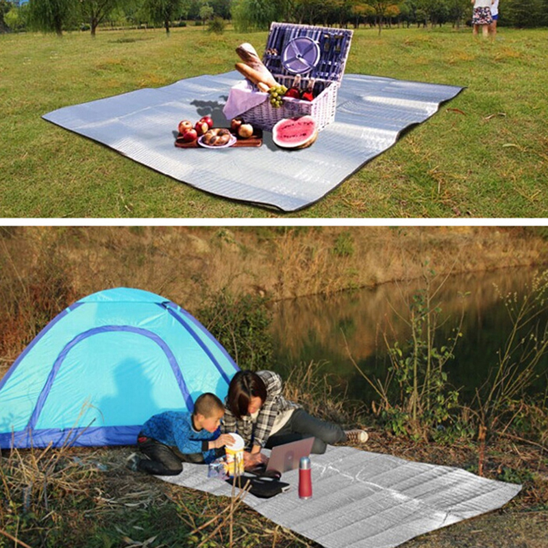 Foldable Camping Mat Folding Sleeping Pad Mattress Outdoor Travel Waterproof Berkelah Mat Aluminium Foil + EVA Pad untuk outdoor 3 Size