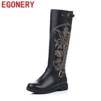 EGONERY shoes 2017 women knee high boots national style round toe side zipper high quality fashion riding boots metal buckles