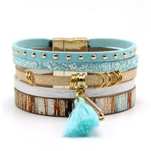 ZG 2017 Fashion Magnetic Bracelet for women in 2 colors with Glass stone and tassel stylish tassel and double ropes embellished bracelet for women