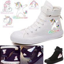 Unicorn VelcroLace Hightop Sneakers Comfortable Canvas Shoes Women and Men Kpop Fashion