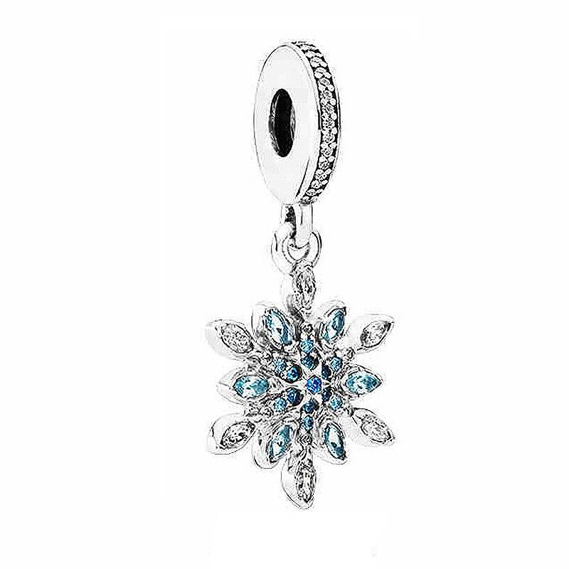 Authentic 925 Sterling Silver Bead Charm Snowflake With Crystal Pendant Beads Fit Pandora Bracelet Bangle DIY Jewelry пандора браслет с шармами