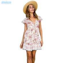 2019 Printed Camis Mini Dress Women Sexy Bodycon Casual Summer Style Bohemian Beach V-Neck Dresses Female Clothing S~XL