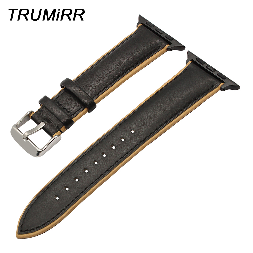 France Genuine Calf Leather Watchband for iWatch Apple Watch 38mm 42mm Double Color Band Steel Buckle Strap Wrist Bracelet Black leather double buckle cuff band for apple watch 38mm 42mm strap bracelet