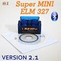 New Version Bluetooth ELM327 V2.1 Blue Super MINI ELM 327 OBD2 / OBDII Car Code Scanner Auto Reader FREE SHIPPING