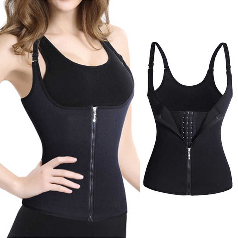 Waist Trainer Adjustable Body Fitness Shaper Cincher Tank Top Waist Shapewear Corset Zipper Vest for Women Workout
