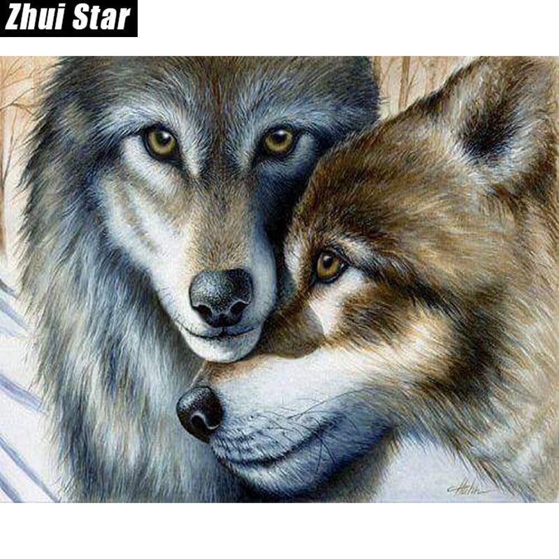 "Full Square Diamond 5D DIY Diamond Painting ""Husband and wife wolf"" Embroidery Cross Stitch Rhinestone Mosaic Painting Decor"