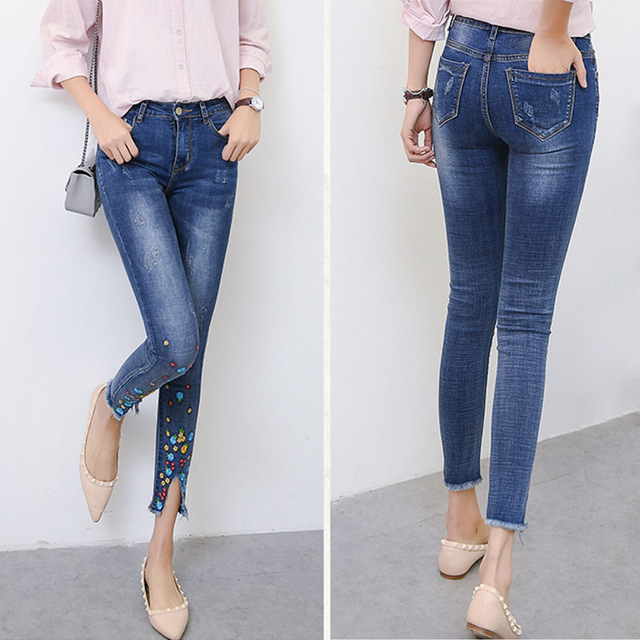 2017 New In Women Large Size Embroidered Nine Pencil Jeans Vintage Embroidery Skinning Stretch Denim Pencil Pants karen kane new women s size large l navy red embroidered tie front blouse $119