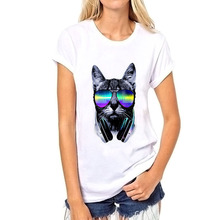 Unisex Music DJ Cat Printed T-Shirt