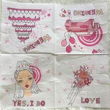 20 servilletas de papel vintage para mesa, pañuelos de papel para novia, novio, corazones, pastel, coche, sí, decoupage, boda, hotel, fiesta, decoración del hogar, servilletas