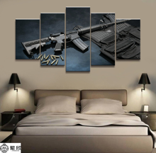 Wall Art Poster Painting Modular Pictures For Living Room Decorative Canvas Printed 5 Panel War Weapon M4A1 Musket