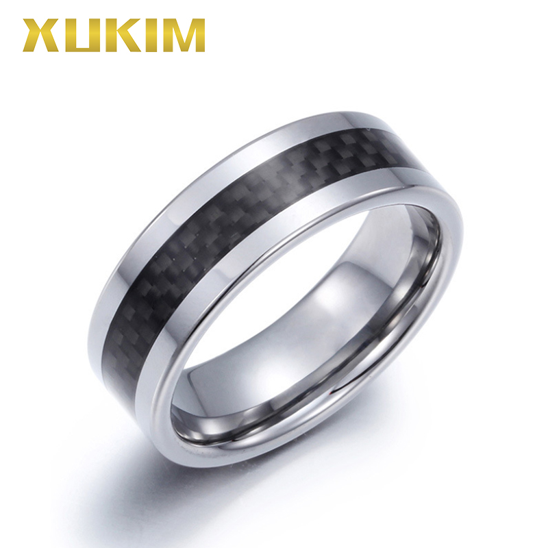 TSR218 Xukim Jewelry stainless steel ring sliver band ring male wedding ring new hot carbon fiber ring Tungsten men ring gift