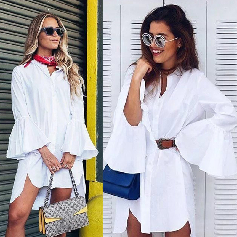 MOARCHO 2017 Women White Flare Sleeve Shirt Dress Summer Fashion O Neck Straight Elegant Woman Bloues Casual Clothing Tops 1