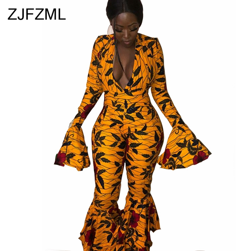 ZJFZML Long Flare Sleeve Sexy Jumpsuits Women 2018 Deep V Neck Black Yellow Floral Print Party Romper Autumn Bell Bottom Overall