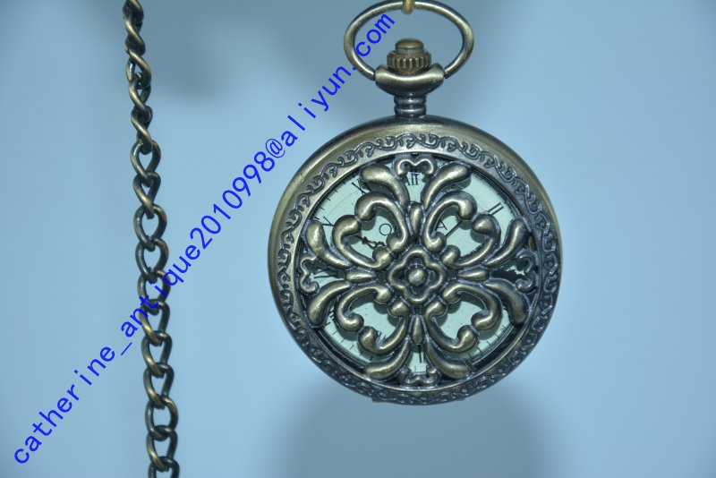 Rare Old Qing Dynasty royal BRASS GLASS clock \ mechanical Pocket watch, can work, with mark, Mediterranean style, Free shipping