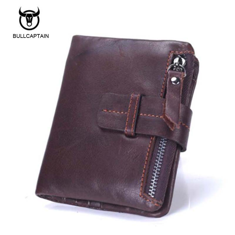 Bullcaptain Genuine Leather Retro Men Wallets High Quality Famous Brand Hasp Design Male Wallet Card Holder for Men's Purse casual weaving design card holder handbag hasp wallet for women