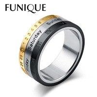 Titanium Steel Rotatable Adjustable Ring Arabic Letter Men S Silver Gold Black Rings For Women Summer