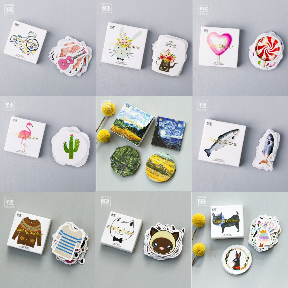 45Pcs/Pack 15 Designs Lifelog DIY Decorative Dairy Sticker Stationery Office School Sticky Label 4CM Wash Stickers Gift M0092 magic rabbit city liz animal sticker diy jewelry 45pcs office new sticker label scrapbook