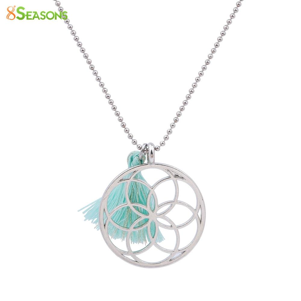 8 JAHRESZEITEN Handgemachte Samen Des Lebens Anhänger Halskette Blume des Lebens Minze Grüne Quaste Sommer Modeschmuck 53 cm 1 Stück
