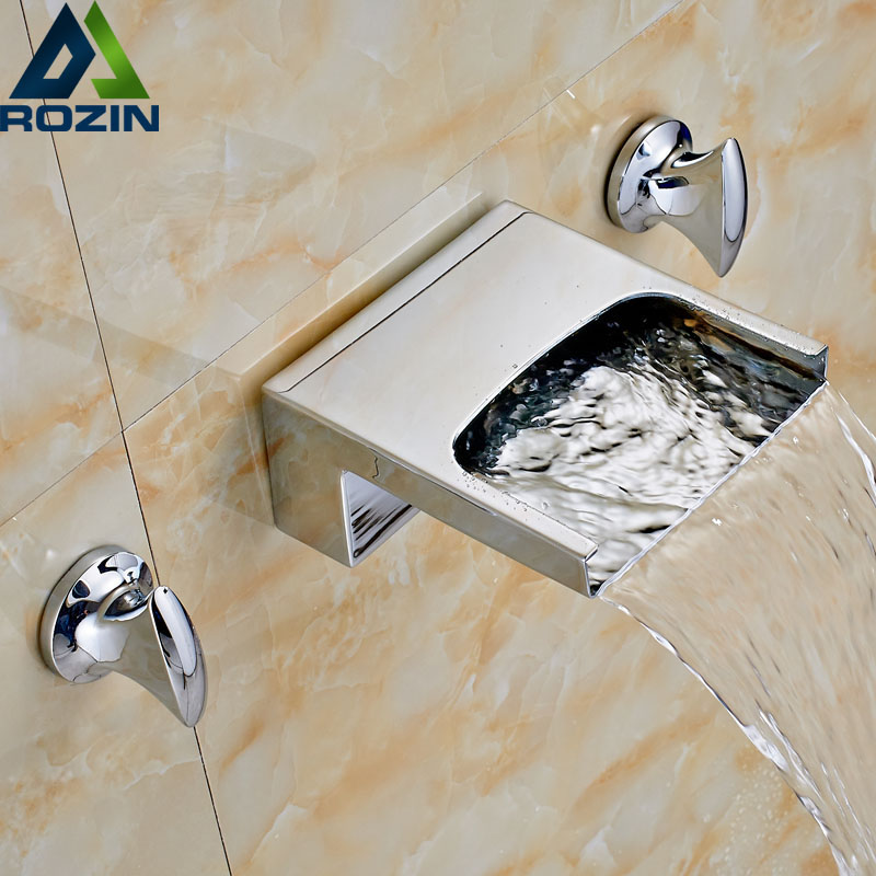 Wall Mounted Wide Waterfall Spout Bath spout bathroom Faucet Dual Handle Chrome Widespread Mixer Taps sognare new wall mounted bathroom bath shower faucet with handheld shower head chrome finish shower faucet set mixer tap d5205