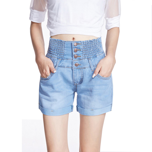 New 2017 Summer Fashion Women Shorts Plus Size High Waist Slim Denim Shorts Single-breasted Elastic Waist Hot Sexy Jeans Shorts