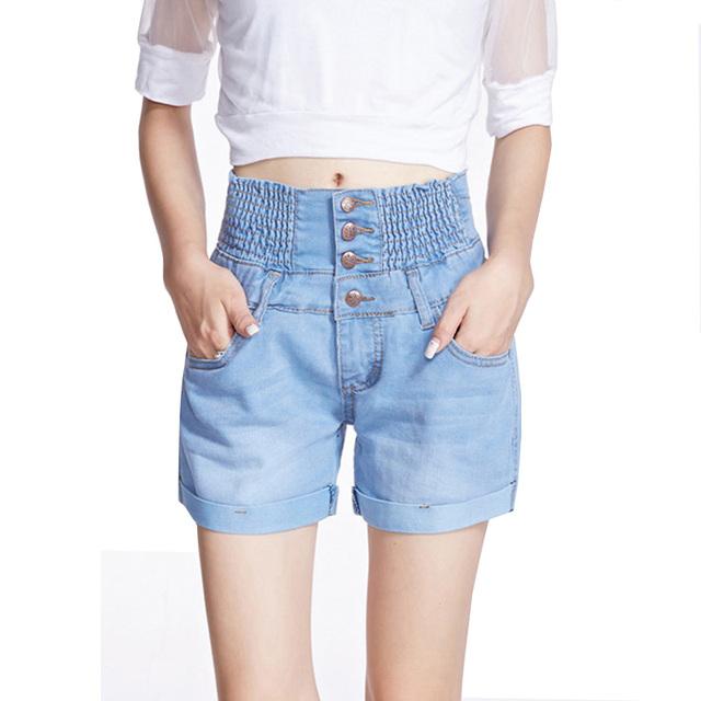Nuevo 2017 de Moda de Verano Pantalones Cortos Mujeres Más El Tamaño de Cintura Alta Pantalones Cortos de Mezclilla Delgada de Un Solo pecho Cintura Elástico Atractivo Caliente Jeans Shorts