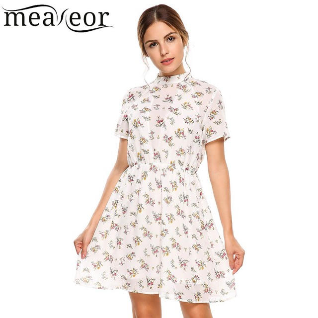 c1e1069b264 Meaneor Tropical Floral Print Tunic A-Line Sundress Women Hollow out Empire Print  Dresses with