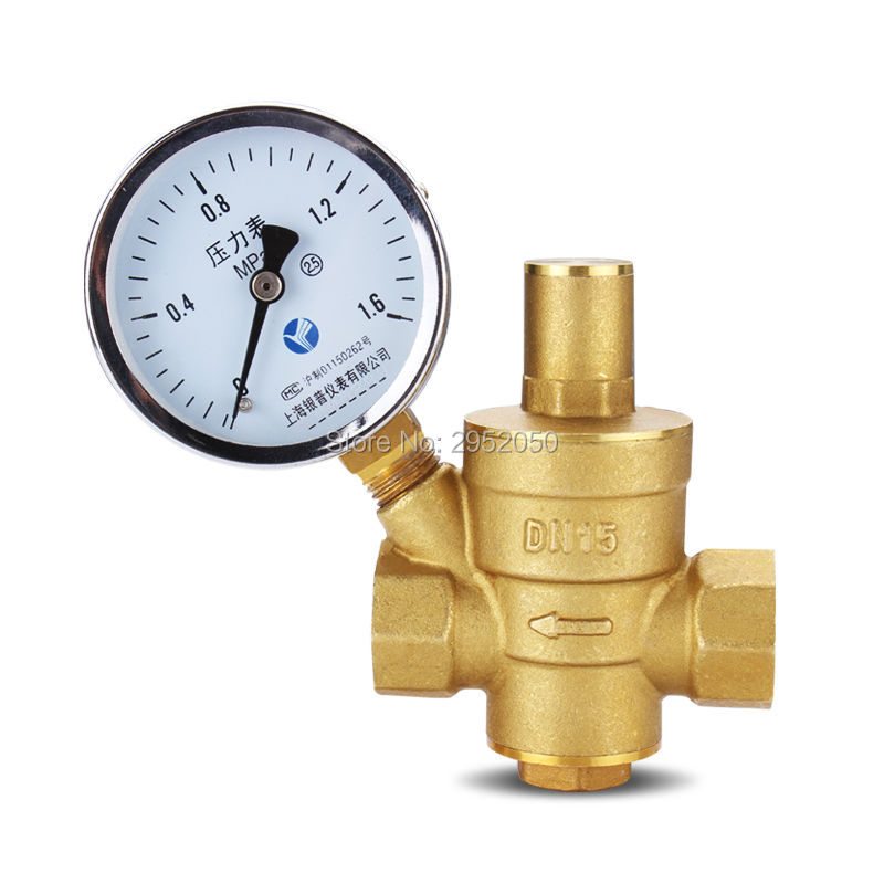 free shipping 1/2 Brass DN15 water pressure regulator (prv) with Gauge,pressure maintaining valve water pressure reducing valve 1 2 built side inlet floating ball valve automatic water level control valve for water tank f water tank water tower