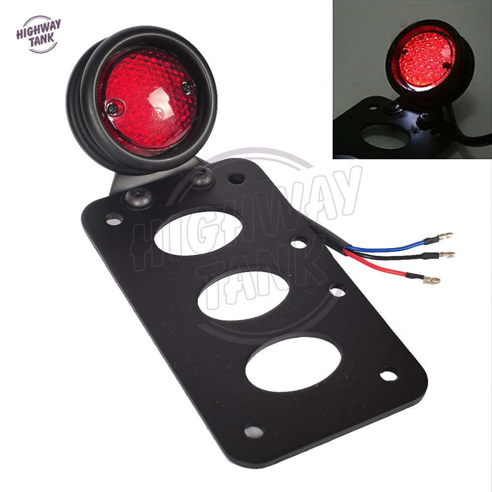 цена на 7 x 4 Motorcycle Tail Brake Light Moto Lamp License Plate Side Mount Bracket case for Harley Bobber 20mm axles