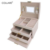 Collare Jewelry Boxes And Packaging PU Leather Storage Makeup Case Jewelry Organizer Container Boxes Cosmetic Case OB005